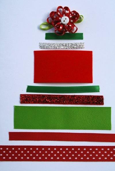Ribbon Christmas tree craft