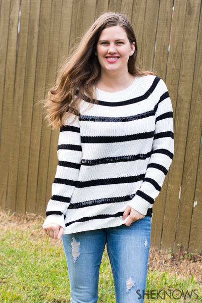 DIY Holiday sweater with sequin stripes | Sheknows.com -- final result