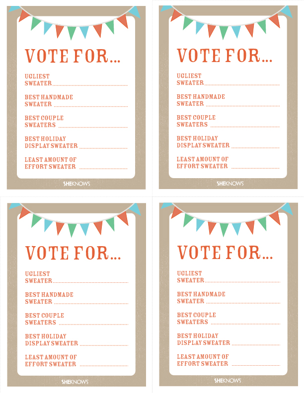 How to host an ugly sweater party for Voting slips template
