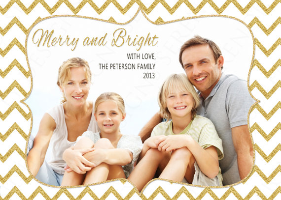 Christmas card trends: Holiday Photo Card with Glitter Chevron (SerendipityDsn on Etsy)