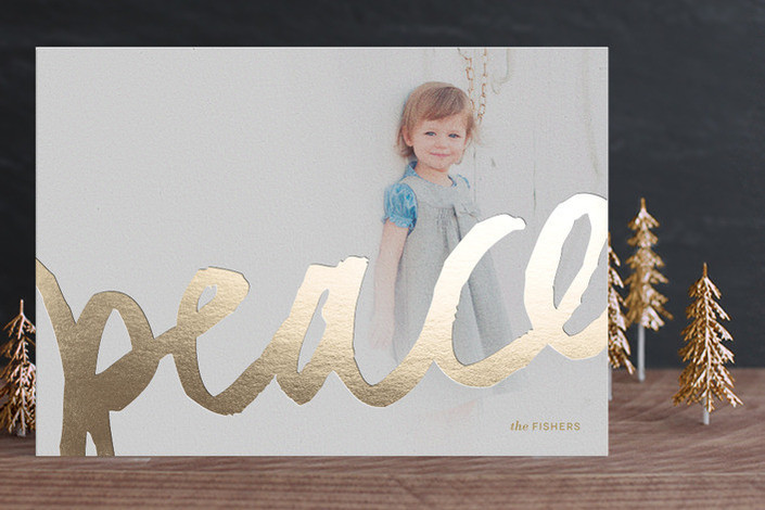 Christmas card trends: Brushed Gold Foil-Pressed Holiday Cards (Minted)