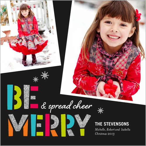Christmas card trends: Be Merry Sparkle Holiday Card (Shutterfly)