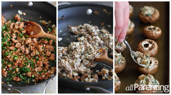 allParenting Stuffed mushrooms with sausage and breadcrumbs prep collage
