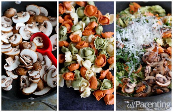 allParenting Tortellini with mushroom thyme sauce prep collage