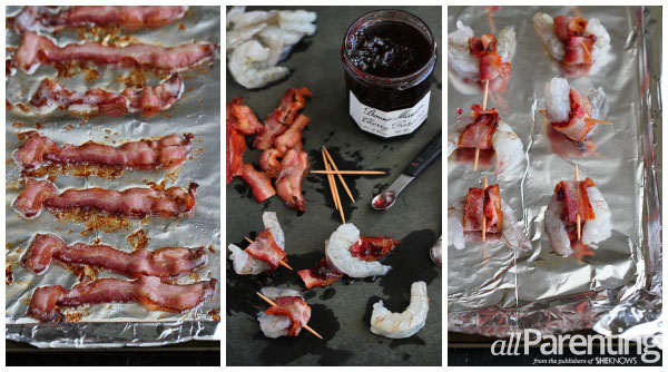 allParenting Bacon wrapped shrimp with cherry preserves collage
