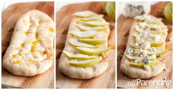 allParenting Pear, arugula and blue cheese flatbread pizza prep collage