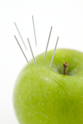 apple acupuncture needles
