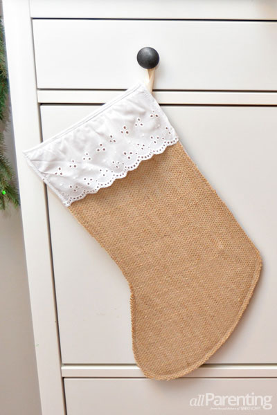 allParenting burlap Christmas stockings