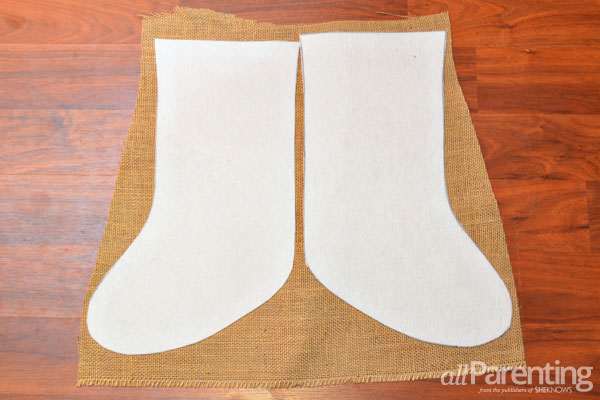 allParenting burlap Christmas stockings step 3