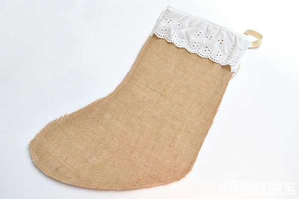 allParenting burlap Christmas stockings step 7