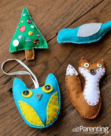 allParenting homemade felt ornaments