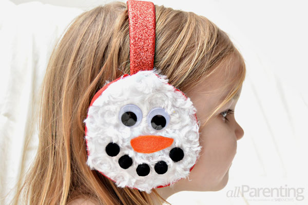 stocking stuffers- Handmade snowman earmuffs