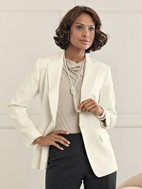 wearing white in winter- Seasonless wool one-button blazer