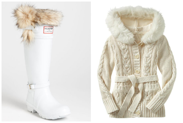 wearing white in winter- fur trimmed