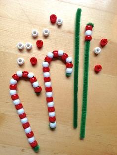 Bead candy cane craft