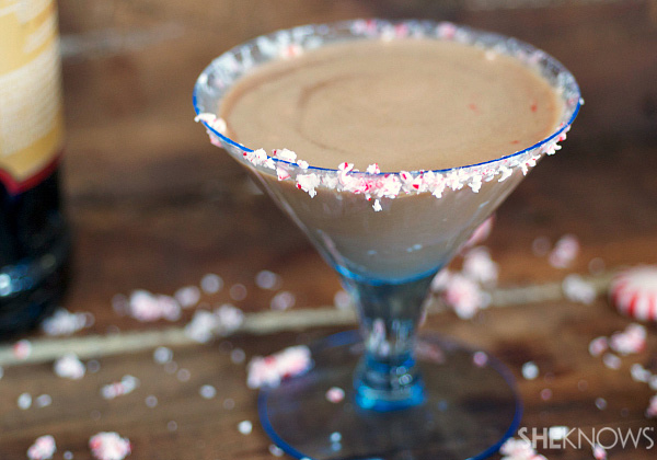 Chocolate martini with crushed peppermint rim