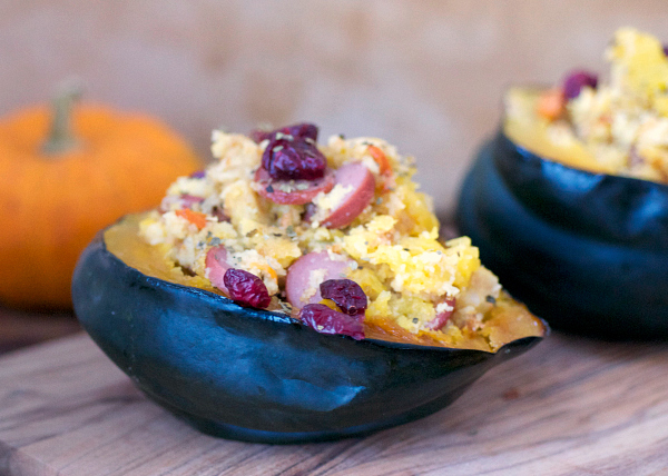 A savory stuffing served in an edible bowl