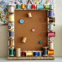 Spool framed cork board