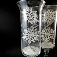 Snowflake hurricane vases