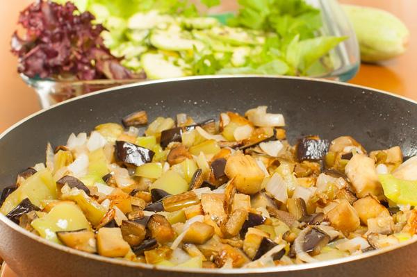 Diced fried eggplant
