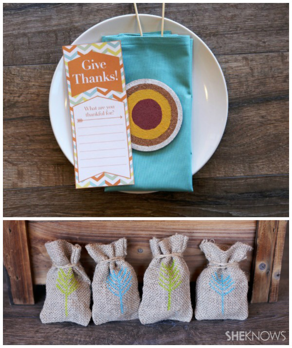 Free printables for an arrow-themed Thanksgiving tablescape -- Give thanks