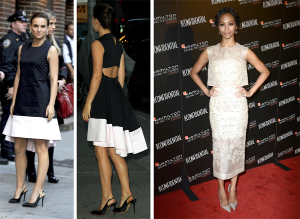 Natalie Portman wearing a white and black dress and Zoe Saldana wearing a cream lace dress