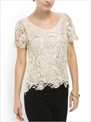 Shop the look: Greylin Eve Metallic Lace Top (tjmaxx.com, $40)