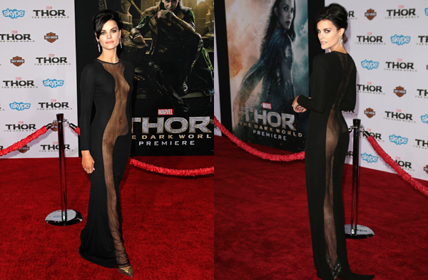 Practically naked at Thor premiere