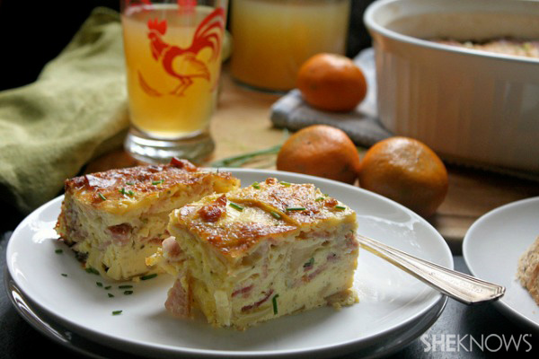 Country style bacon, apple and cheese egg bake recipe