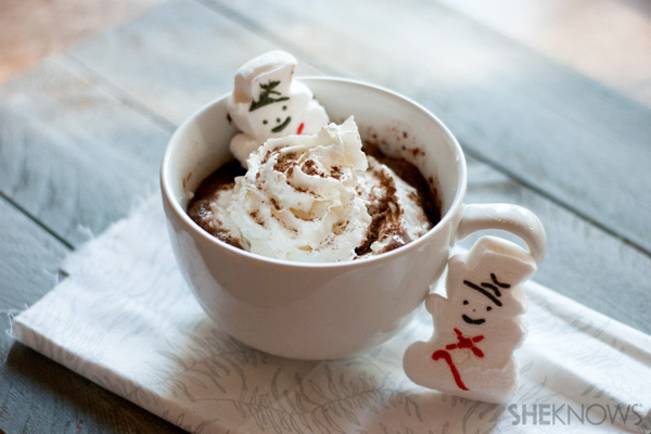 Dairy-free peppermint hot chocolate with snowman marshmallows