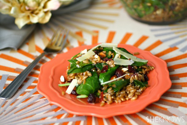 Farro, spinach, and cranberry salad