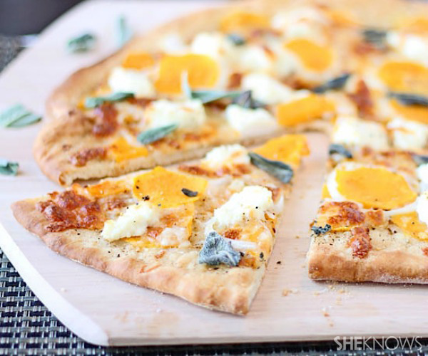 Butternut squash pizza with brown butter sauce