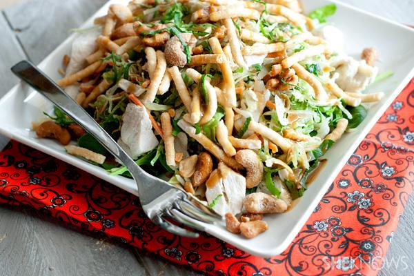 Warm Thai chicken salad with creamy ginger dressing