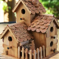 Wine cork fairy birdhouse