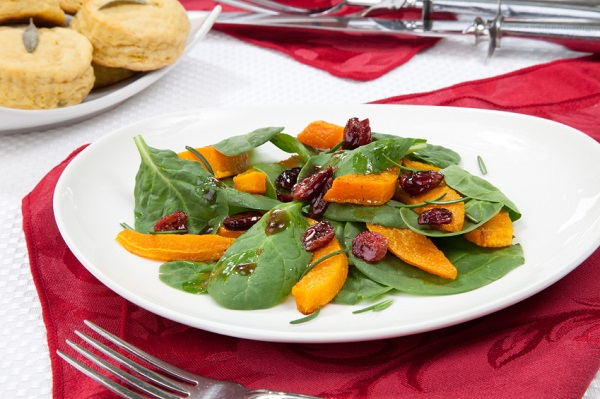 Roasted pumpkin spinach salad
