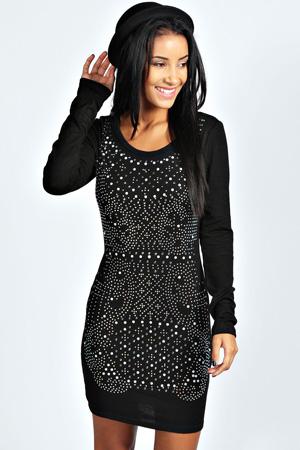Ebba Embellished Knitted Jumper Dress