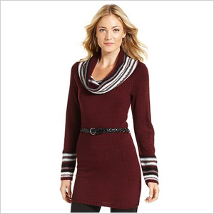 NY Collection Long-Sleeve Belted Cowl-Neck Sweater (Macy's, $34)