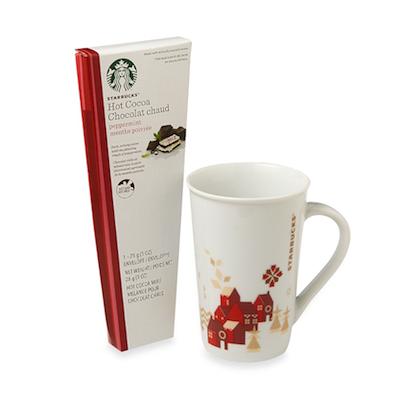 Hot cocoa set from Starbucks