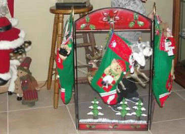 Use a decorative stand to hang stockings
