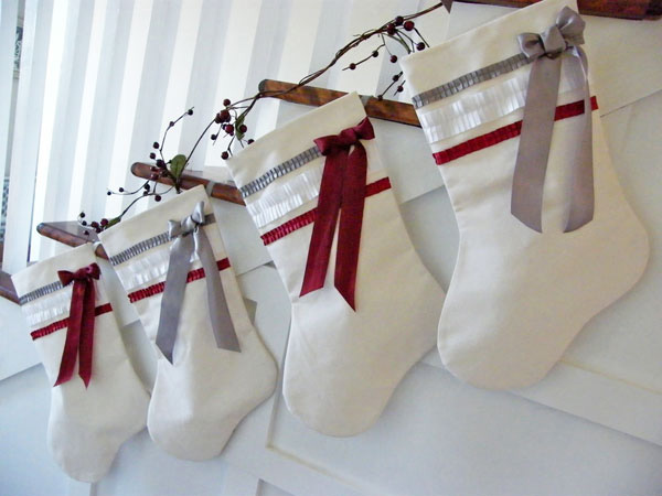 Hang stockings from ribbons