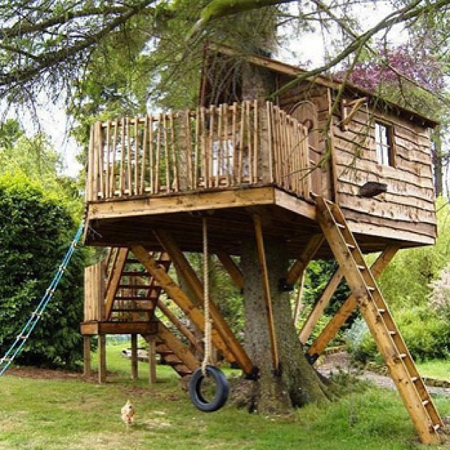 15 ridiculously cool tree houses for Cool backyard tree houses
