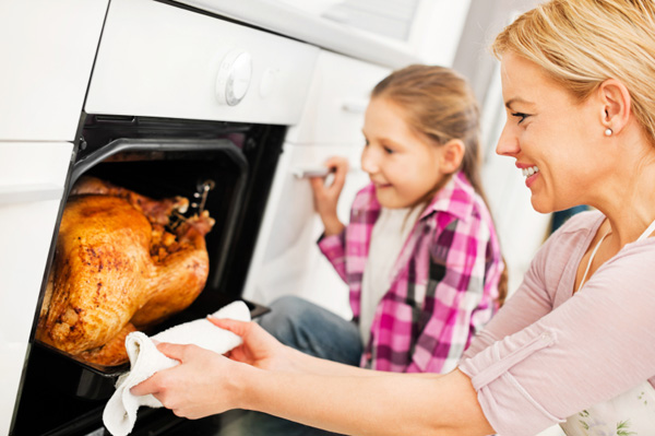 Woman cooking turkey in oven
