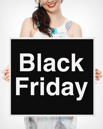 Woman with Black Friday sign