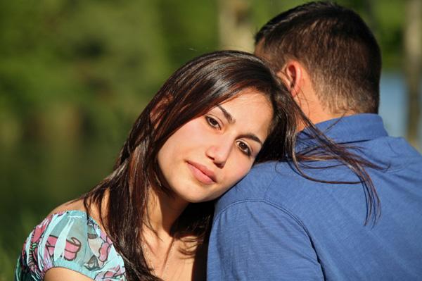Worried woman with boyfriend