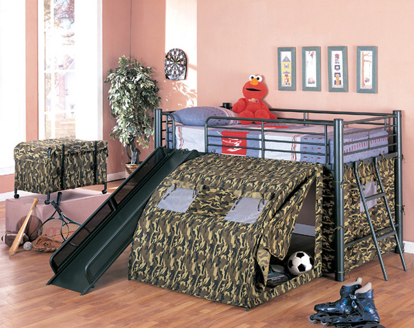 Camo bunk bed with slide