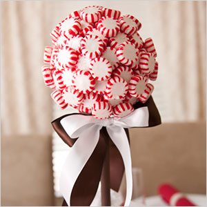 Peppermint topiary with edible snow centerpiece | Sheknows.com