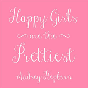 Happy Girls are the Prettiest Beauty Quote Print Printable Audrey Hepburn Quote Digital Print 8 x 10 Pink White Daughter Print Nursery Deco | Sheknows.com
