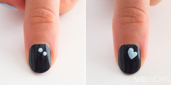 Floating hearts nail design | SheKnows.com