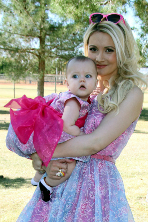 Holly Madison and baby Rainbow Aurora Rotella