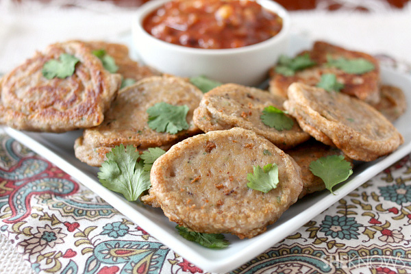 Black-eyed pea fritters with spicy tomato sauce